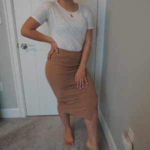 SHEIN TAN PENCIL SKIRT WITH SLIT